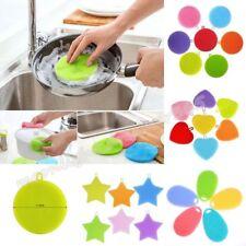 Kitchen Wash Washing Tool Silicone Sponge Scrubber Brush Bowl Dish Cleaner New