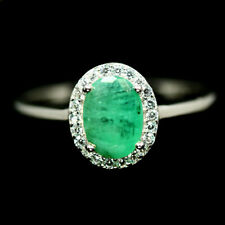 NATURAL GREEN EMERALD & WHITE CZ RING 925 STERLING SILVER SIZE9