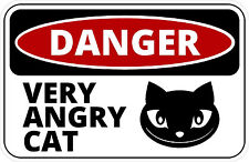 """#889 3"""" (1) Beware of Cat Very Angry Cat Guard Cat Decal Sticker LAMINATED B&W"""