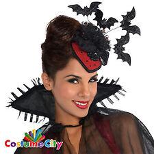Womens Ladies Halloween Vampire Bats Clip On Hat Fancy Dress Costume Accessory