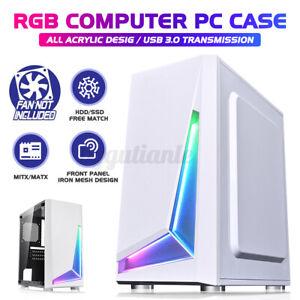 PC Gaming Computer Case Tempered Glass ARGB Strip ATX Tower Desktop HDD*1