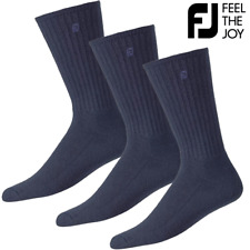 FOOTJOY COMFORTSOF MENS NAVY GOLF CREW GOLF SOCKS / 3 PAIR VALUE PACK