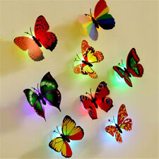 3D Butterfly LED Light Art Design Decal Wall Stickers Home Mural Room Decor 1pc