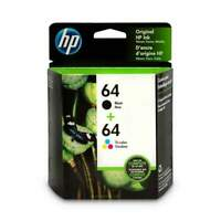 HP 64 Black & Tri-Color Ink Cartridges, 2 Cartridges