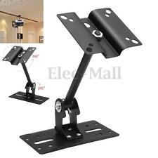 Black Metal Clamping Wall Mount Bracket Ceiling Stand For 8Home Theater Speaker