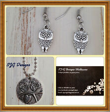 2 piece SET -Owl Necklace & matching earrings - New-free postage