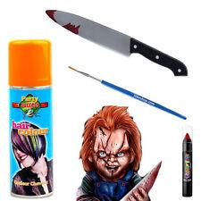 Chucky Halloween Fancy Dress Makeup Kit Face-paint Hairspray Fake Blooded Knife
