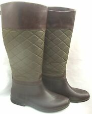 STORM BY COUGAR GREEN QUILTED UPPER RUBBER LOWER RIDING EQUESTRIAN RAIN BOOTS 10