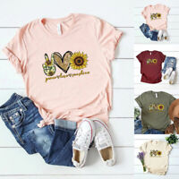 Women's Sunflower Print Loose T-Shirt Short Sleeve Tops Summer Casual Blouse Tee