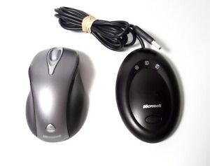 Microsoft Wireless Laser Mouse 5000 Mouse Model 1058 Silver with USB Receiver
