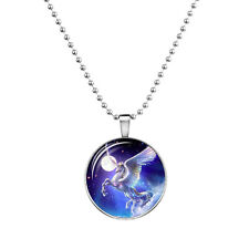 "Unicorn Charm Pendant Fashionable Glass Necklace - Glow in the Dark - 23"" Chain"
