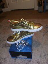 "24K Gold Metallic PUMA ""Clyde"" Basketball Sneakers..   mens S 9.5 brand new"