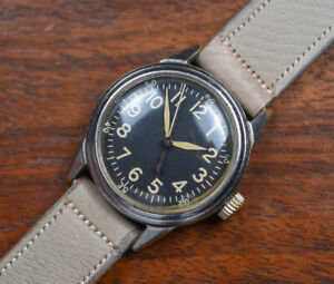 Vintage ELGIN A-11 Hack Set Military Ordinance Issue WWII Watch GREAT DIAL/HANDS