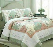 King Size Bedding Quilt Set Farmhouse Shabby Chic Country Cottage Patchwork 3pc