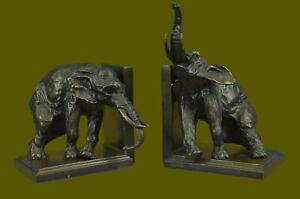 Handgefertigt Bronze Statue Buch Buchstützen Skulptur Elefant Figur Kunst