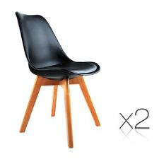 2x Retro Replica Eames Eiffel DSW Dining Chairs Cafe Kitchen Beech Black