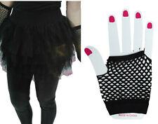 Black Tutu Skirt Fishnet Fingerless Short Gloves 80's Women Madonna Punk Costume