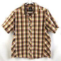 Prana Pearl Snap Shirt Mens Size Medium Brown Plaid Short Sleeve Organic Cotton