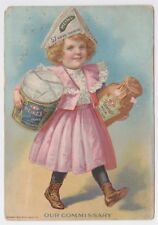 H J HEINZ 1900 TRADE CARD GIRL CARRYING BEANS AND RELISH