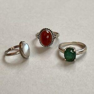 Sterling Silver 925 Ring X 3 Moonstone Carnelian Emerald