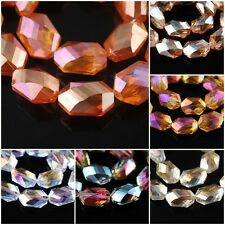 Charms Oval Hexagon Faceted Glass Crystal Beads Spacer Finding 18x22mm 11Colors