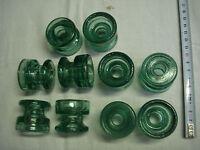 10 isolateurs en verre vert clair diamètre 42 mm