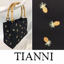 TIANNI Purse AUTHENTIC Black Pineapples Handbag Bamboo Handles Tote Embroidered