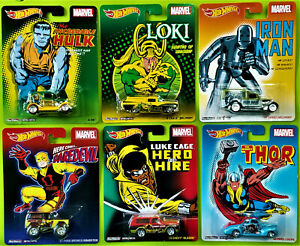2014 HOT WHEELS POP CULTURE MARVEL - COMPLETE SET OF 6 - NEW ON CARD