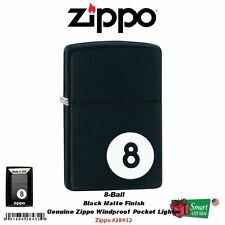 Zippo 8-Ball Black Matte, Billiards Design, Genuine Windproof Lighter #28432