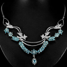 Sterling Silver 925 Genuine Natural Swiss Blue Topaz Statement Necklace 20 Inch