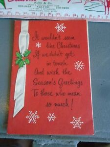 VTG 1960s Christmas card Red white ribbon Holly with Snowflakes Mid Century USA