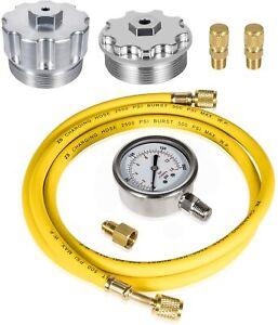 Fuel Pressure Test Kit& Oil/Fuel Filter Cap Set for Ford Powerstroke 6.0L 03-07