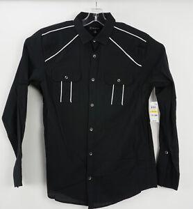 New International Concepts Mens Medium Long Sleeve Black Western Button Up Shirt