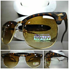 CLASSIC VINTAGE Style SUN GLASSES Matte Tortoise & Gold Fashion Frame Brown Lens