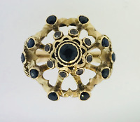 10K YELLOW GOLD DIAMOND & SAPPHIRE ESTATE ROTATING CENTER RING