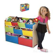 Toy Storage Organizer Box Trunk Kids Playroom Bedroom Furniture 9 Rugged Bins