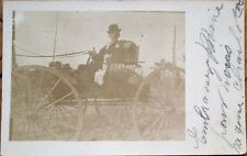 Sacramento, CA 1908 Realphoto Postcard: Man & Dog in Horse-Drawn Wagon