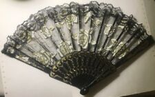 Decorative Fold Down Hand Fan Black Gold And White Designed W/ Flowers