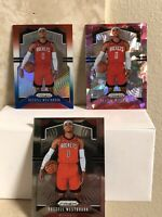 LOT(3) 2019-20 Panini Prizm PINK CRACKED ICE, RWB & BASE #182 RUSSELL WESTBROOK