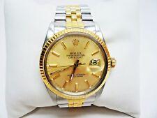 Vintage Rolex 16013 Datejust 36MM SS/18K Gold Fluted Bezel Jubilee Bracelet 1987