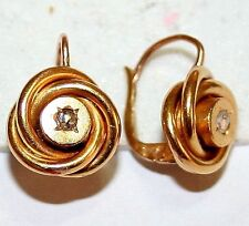 ANTIQUE VICTORIAN FRENCH 18K GOLD LOVE KNOT ROSE DIAMOND FINE EARRINGS c 1880