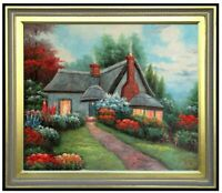 Framed Quality Hand Painted Oil Painting, Flowering Garden Cottage, 20x24in