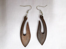 NEW DARK BROWN WOOD TRIBAL FISH HOOK DESIGN DANGLING WOODEN ELEMENTAL EARRINGS