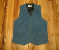 Vintage Levi's Panatela Sportswear Blue Denim Lined Button Up Vest Mens Medium