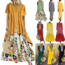 Plus Size Women Floral Boho Kaftan Maxi Dress Ladies Casual Loose Tunic Sundress