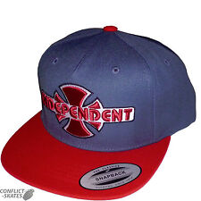 "INDEPENDENT ""OGBC"" Snap Back Cap Skateboard Denim/Cardinale Rosso Taglia Unica Cappello INDY"