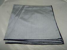 Vintage 100% Silk Dark Navy Blue Light Blue Handkerchief Scarf