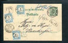 1893 onvold.gefr. briefkrt STUTTGART naar Vlaardingen; combfr. PORT P 3 + 4 + 6