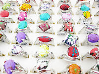 30pcs Antique Silver Plated Mixed Turquoise Rings Wholesale Lot Fashion Jewelry