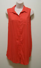 FOREVER NEW TOP RED LONG BUTTON DOWN SHIRT TOP, Sz 8